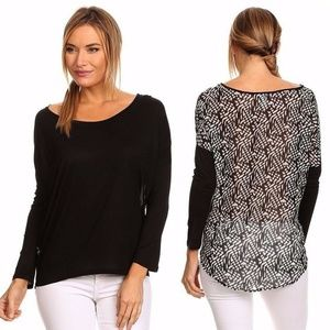 Relaxed Fit Hi-Lo Knit Top with Sheer Back
